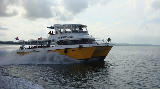 Standard cover photo speed ferry cambodia fastcat boat running on the sea